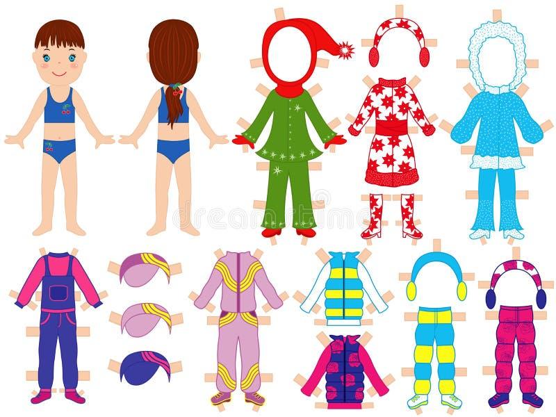 Бумажная кукла и теплые одежды установили для ее иллюстрация вектора