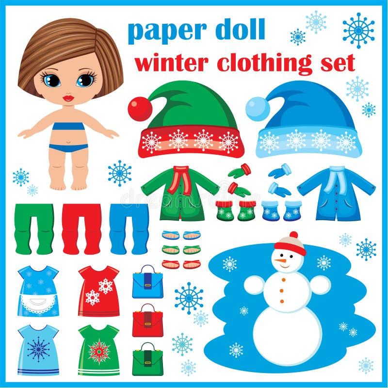 Бумажная кукла при установленные одежды зимы. иллюстрация штока