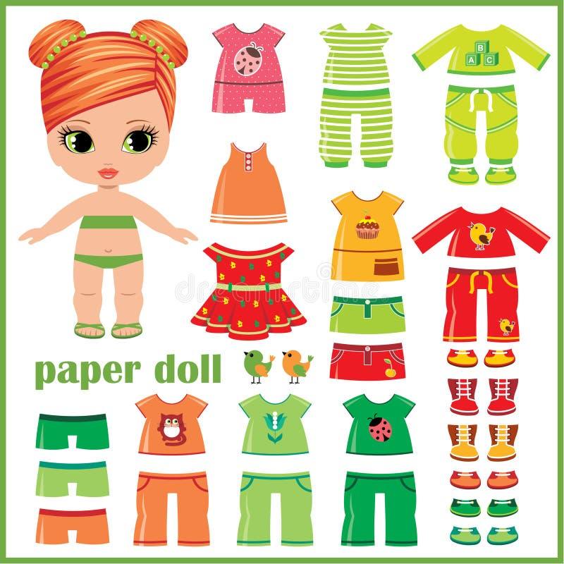 Бумажная кукла при установленные одежды иллюстрация штока
