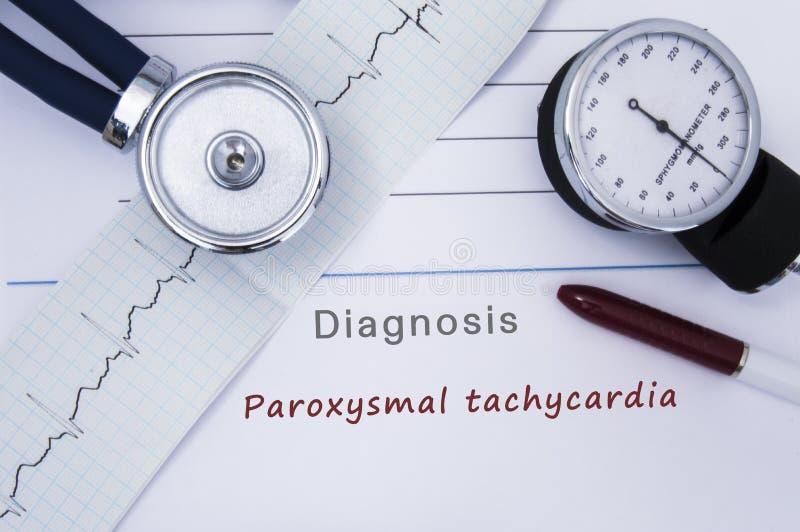 Бумажная медицинская форма с диагнозом Paroxysmal тахикардии от заболеваний сердечной аритмичности категории с напечатанным ECG,  стоковое фото