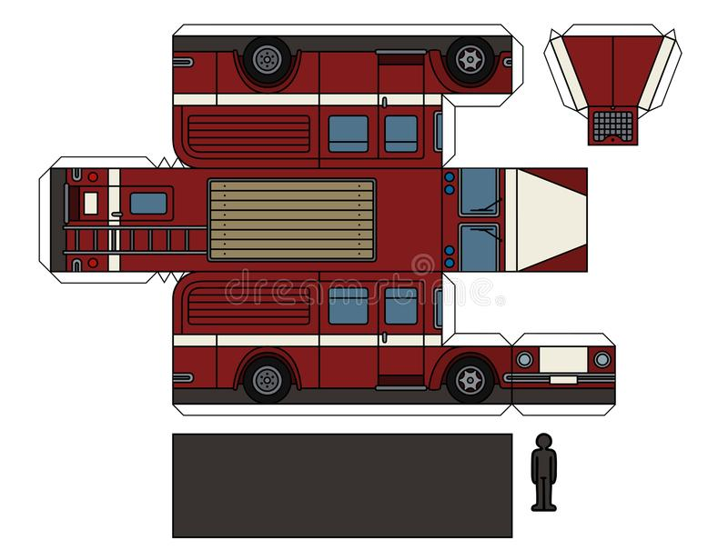 Бумажная модель старой пожарной машины иллюстрация вектора