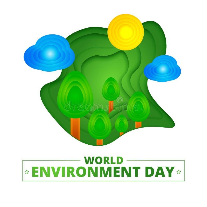 Бумажная отрезанная природа мультфильма с деревьями, облаками, солнцем в реалистическом ультрамодном стиле ремесла Современный ди иллюстрация штока