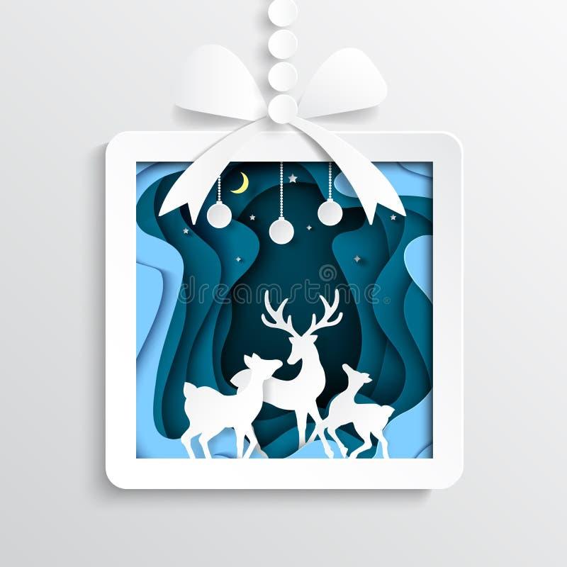 06 Бумажная подарочная коробка с оленями на предпосылке сезона зимы бесплатная иллюстрация