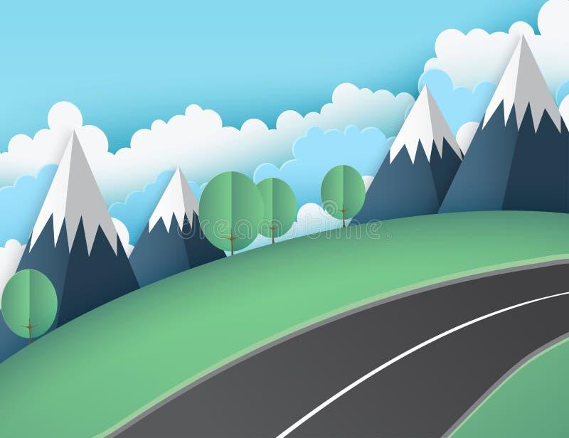 Бумажная предпосылка искусства с зеленой лужайкой, горами, пушистыми облаками иллюстрация штока
