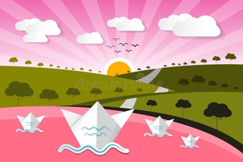 Бумажная предпосылка природы вектора с озером иллюстрация штока