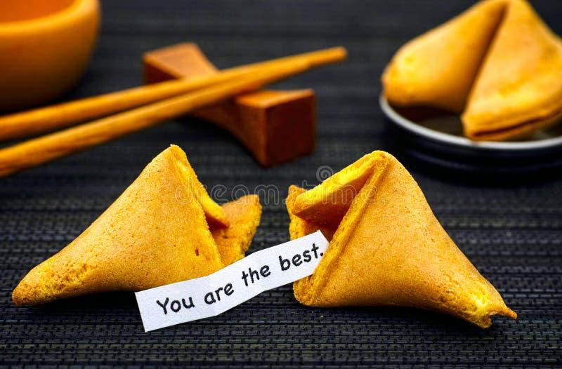 Бумажная прокладка с фразой вы самое лучшее от печенья с предсказанием стоковые фотографии rf
