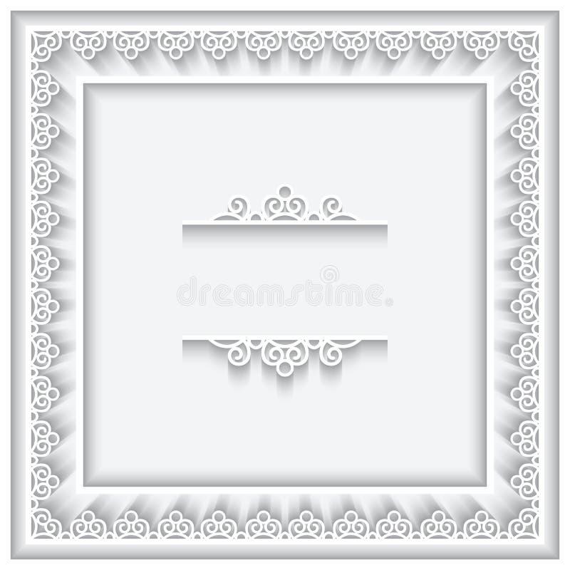 Бумажная рамка квадрата шнурка иллюстрация вектора