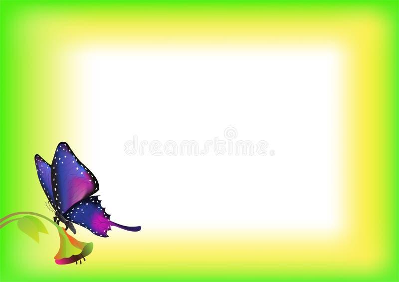 Бумажная рамка с цветками и бабочками иллюстрация штока