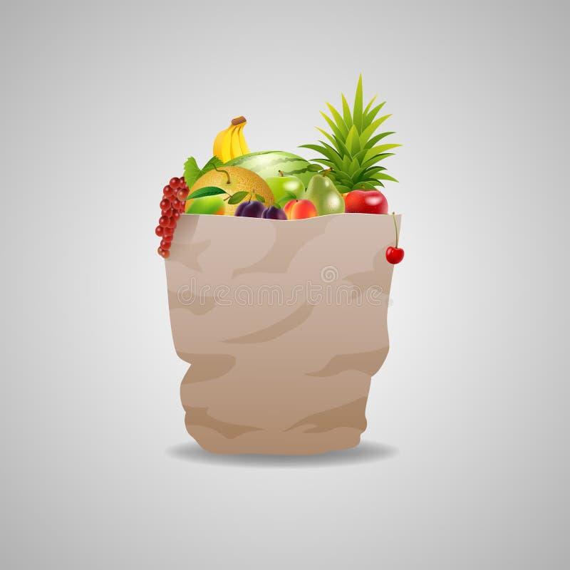 Бумажная сумка вполне свежих фруктов иллюстрация вектора