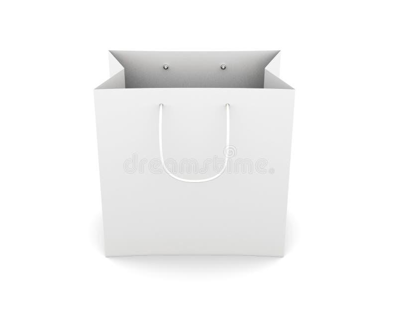Бумажная сумка при ручки изолированные на белой предпосылке Вид спереди иллюстрация штока