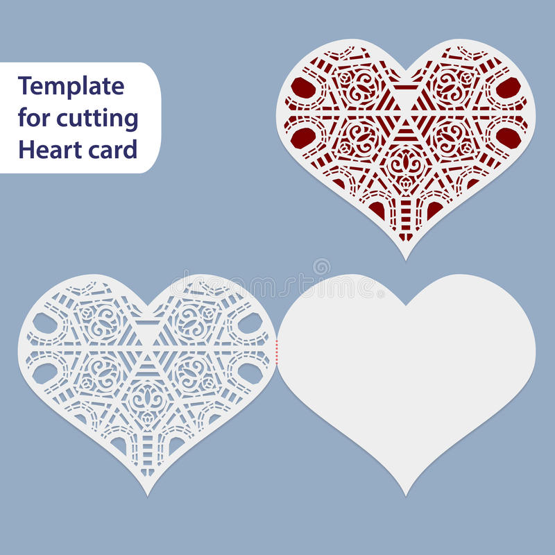 Бумажная openwork карточка свадьбы, форма сердца, открытка приветствию, шаблон для резать, шнурует имитацию, подарок на Valentine иллюстрация вектора
