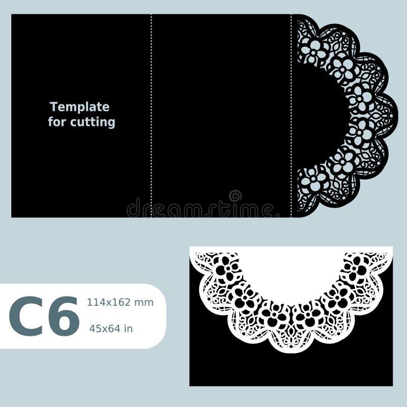 Бумажная openwork поздравительная открытка C6, шаблон для резать, приглашение шнурка, карточка с линиями створки, предпосылка объ иллюстрация вектора
