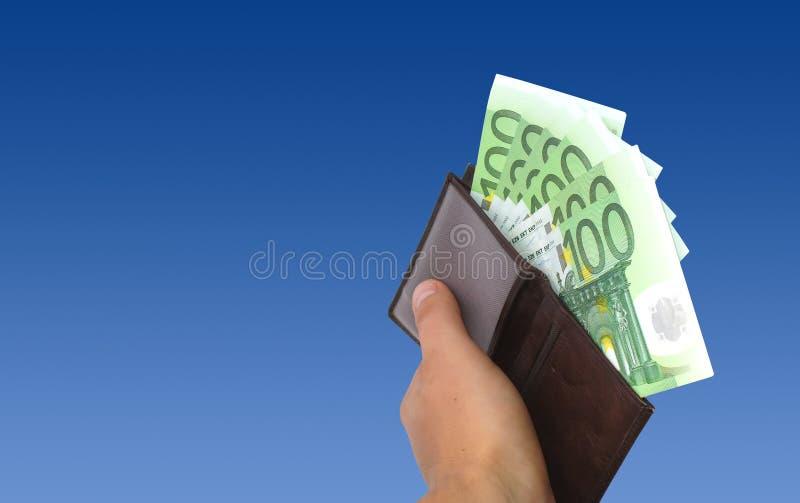 бумажник евро стоковые фото