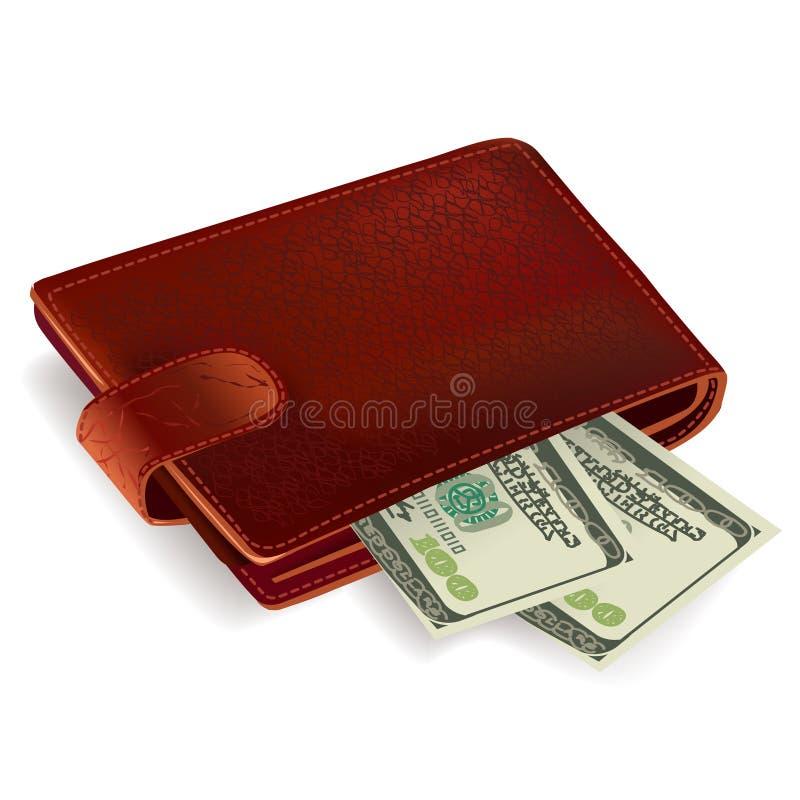 Бумажник заполненный с счетами иллюстрация вектора
