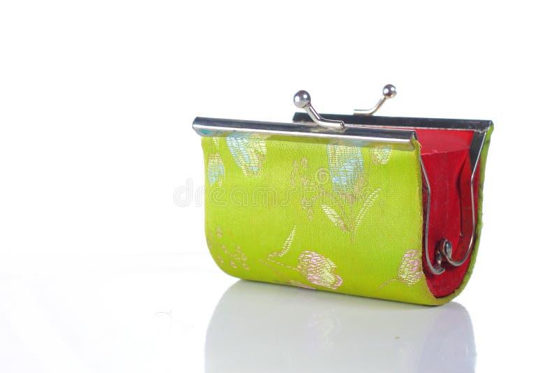 бумажник зеленого цвета открытый широкий стоковые изображения