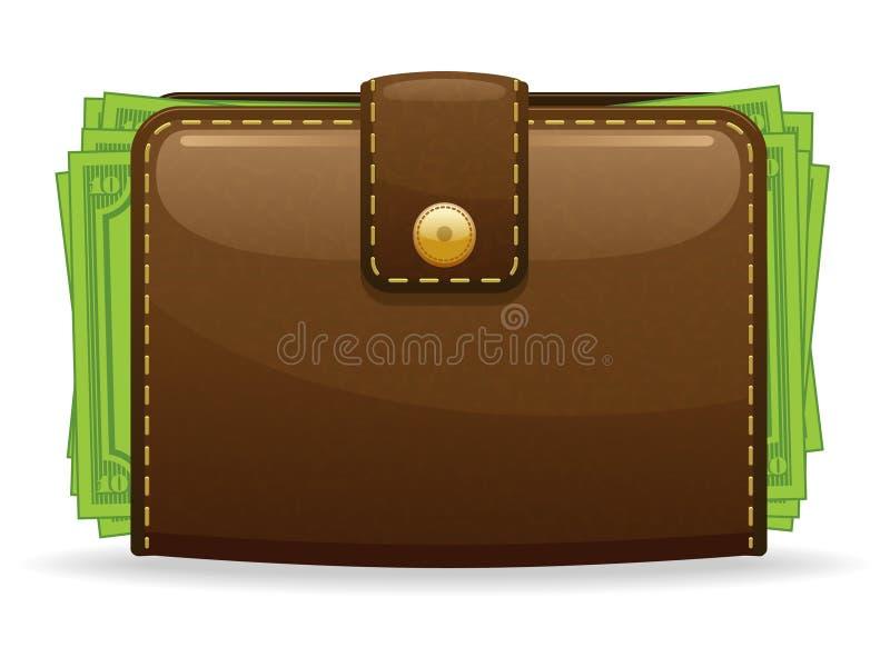 бумажник иконы иллюстрация вектора