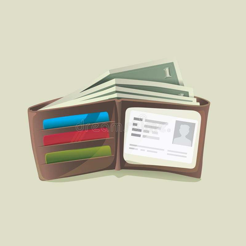 Бумажник классического современного кожаного карманн открытый тучный заполнил с долларом бесплатная иллюстрация