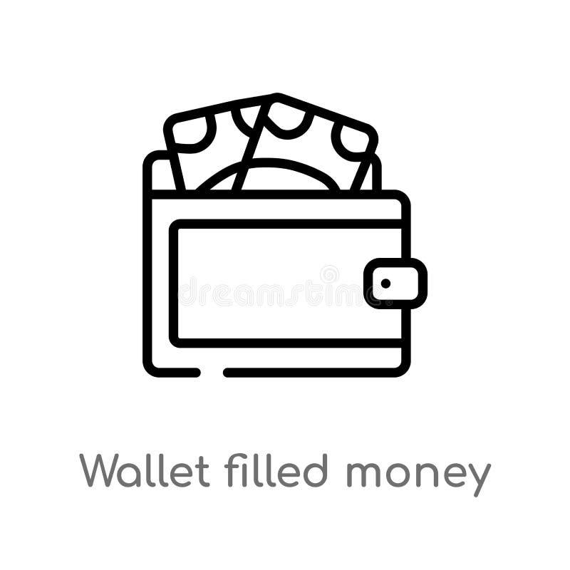 бумажник плана заполнил значок вектора инструмента денег изолированная черная простая линия иллюстрация элемента от концепции ком бесплатная иллюстрация