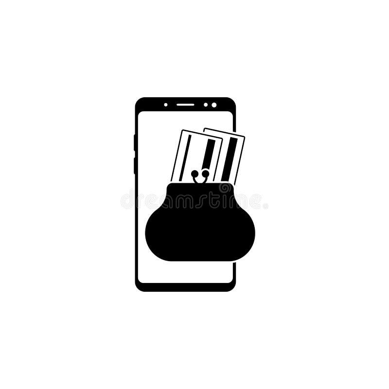 бумажник смартфона, значок вектора карты банка для вебсайтов и мобильный minimalistic плоский дизайн иллюстрация штока