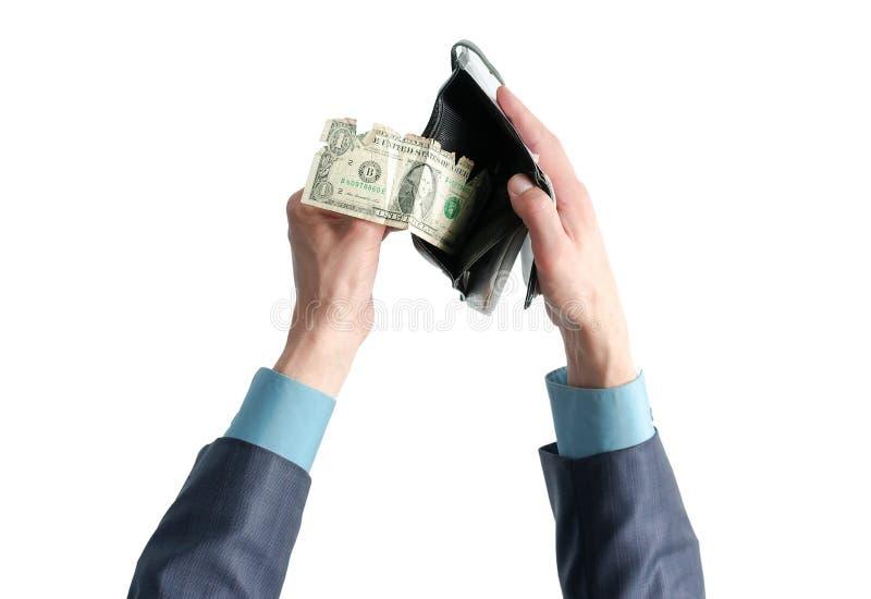 Бумажник с деньгами в руках стоковые фотографии rf