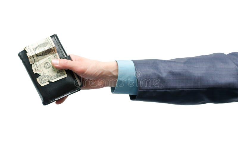 Бумажник с деньгами в руках стоковое изображение rf