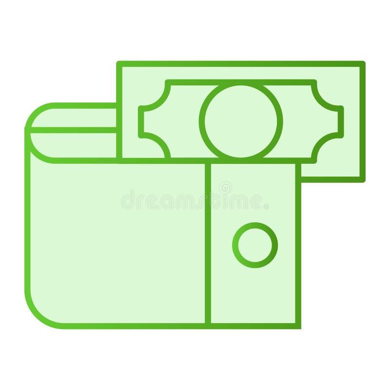 Бумажник с значком денег плоским Значки зеленого цвета наличных денег в ультрамодном плоском стиле Дизайн стиля градиента портмон бесплатная иллюстрация