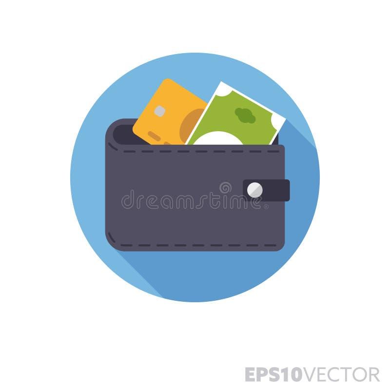 Бумажник с кредитной карточкой и значком вектора цвета тени плоского дизайна банкноты длинным иллюстрация штока