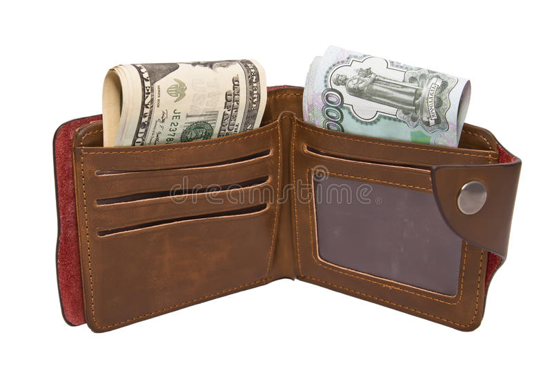 Бумажник с наличными деньгами стоковые изображения rf
