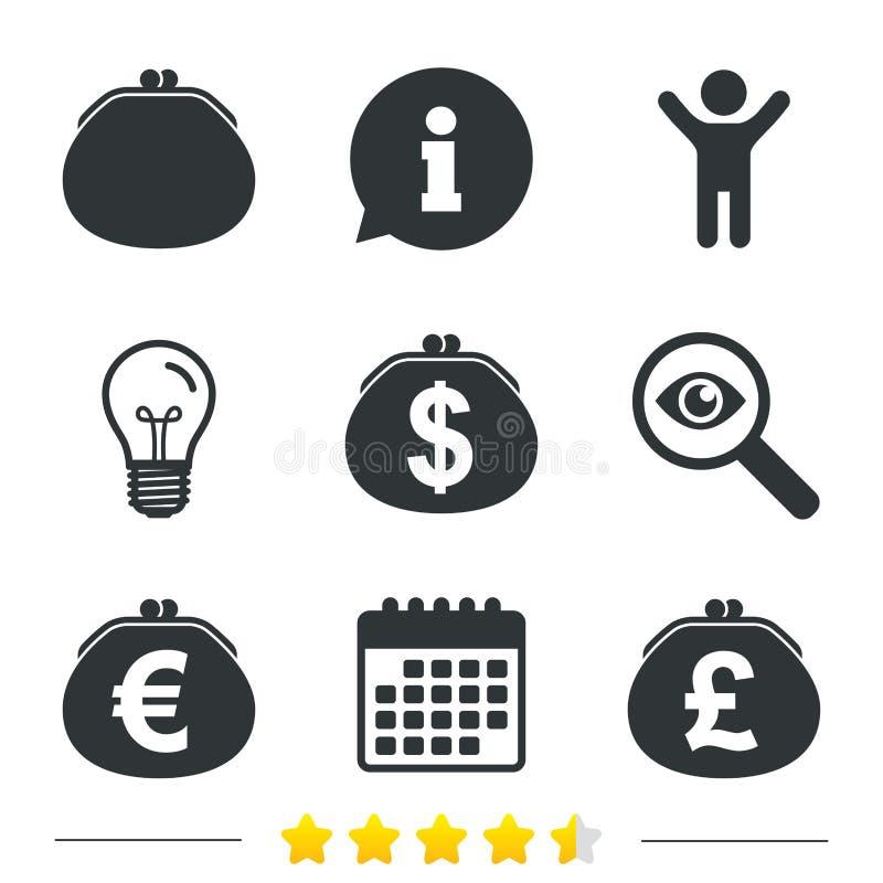 Бумажник с долларом, значками евро Знаки сумки наличных денег иллюстрация штока