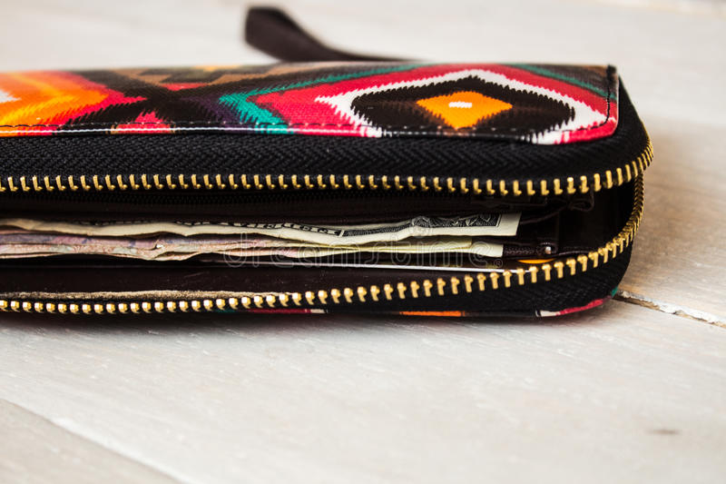 Бумажник ` s женщин с деньгами стоковые изображения