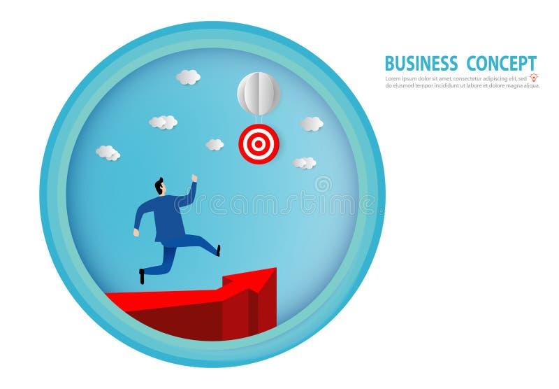 Бумажное искусство бизнесмена бежать на иллюстрации концепции дела людей направления карьеры диаграммы стрелки достигает цель иллюстрация штока