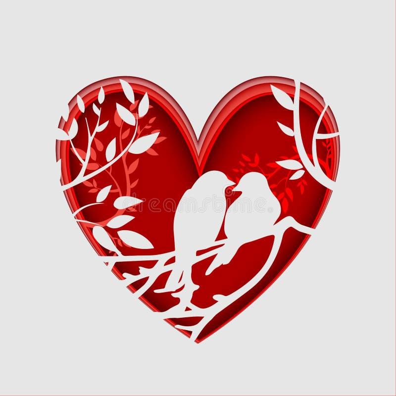 Бумажное искусство высекает для того чтобы соединить птиц на ветви дерева в форме сердца, концепции origami иллюстрация вектора