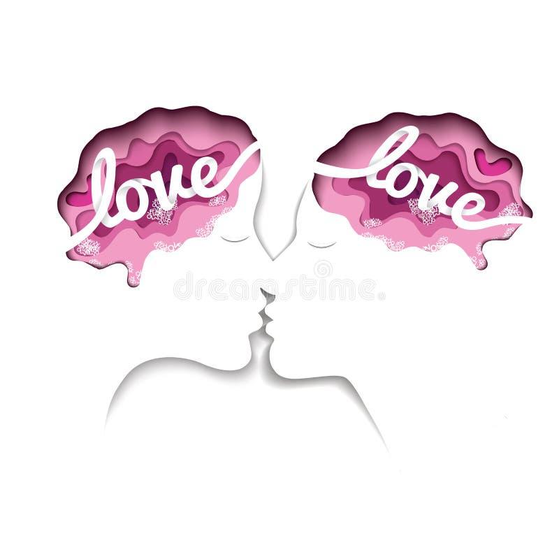 Бумажное искусство дня ` s валентинки на бумаге концепции любовника дизайн оформления и предпосылка конспекта использовали к позд бесплатная иллюстрация