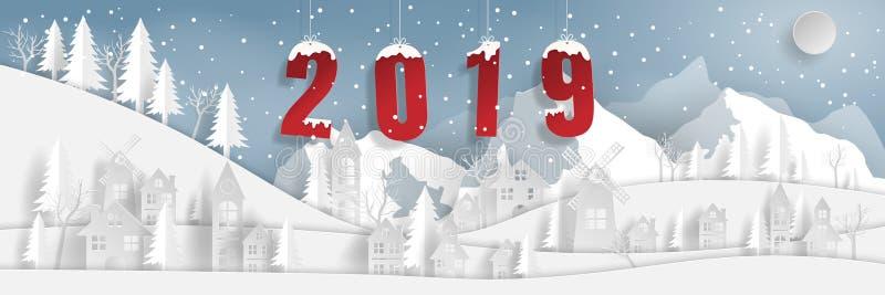 Бумажное искусство, стиль ремесла ландшафта сельской местности деревни с горой снега со словом 2019 иллюстрация вектора