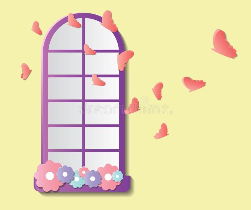 Бумажное окно стиля с цветками и бабочками иллюстрация вектора