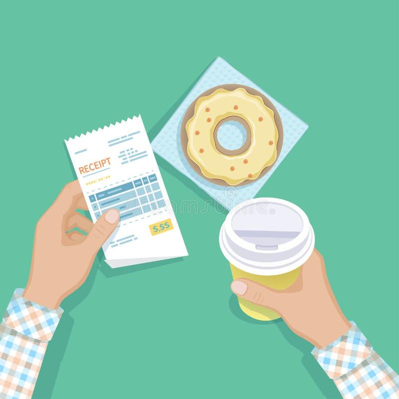Бумажное получение в руке человека, кофе, который нужно пойти, донуте Оплачивать счета ресторана Оплата ` s клиента для обслужива иллюстрация вектора