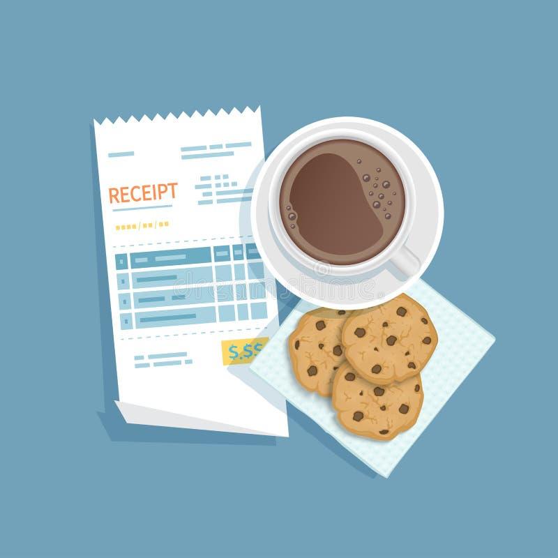 Бумажное получение для чашки кофе, печений с обломоками шоколада Оплачивать счета ресторана Оплата ` s клиента для обслуживания к иллюстрация вектора