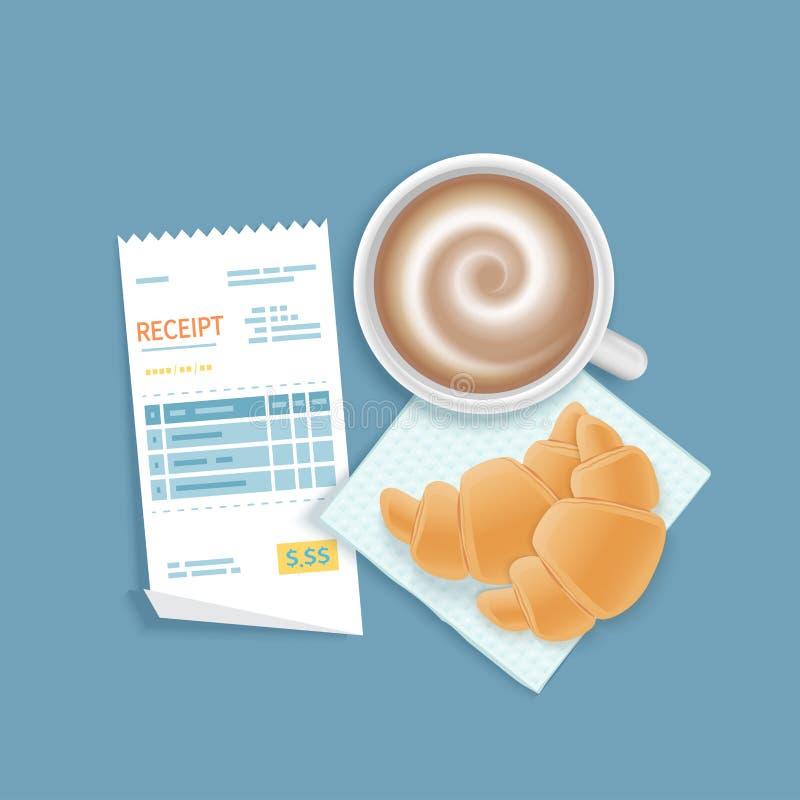 Бумажное получение, чашка кофе с пеной, круассанами Оплачивать счета ресторана Оплата ` s клиента для обслуживания кафа бесплатная иллюстрация