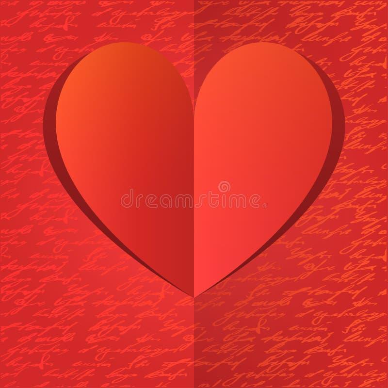 Бумажное сердце с картиной handwrite золота иллюстрация штока