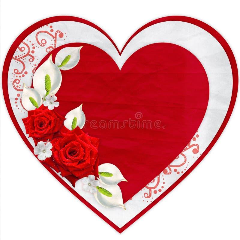 Бумажное сердце с красными розами стоковое изображение