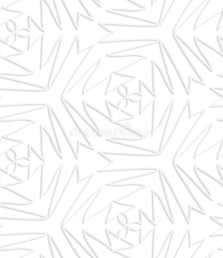Бумажные белые заострённые сложные оконтуренные трилистники иллюстрация вектора