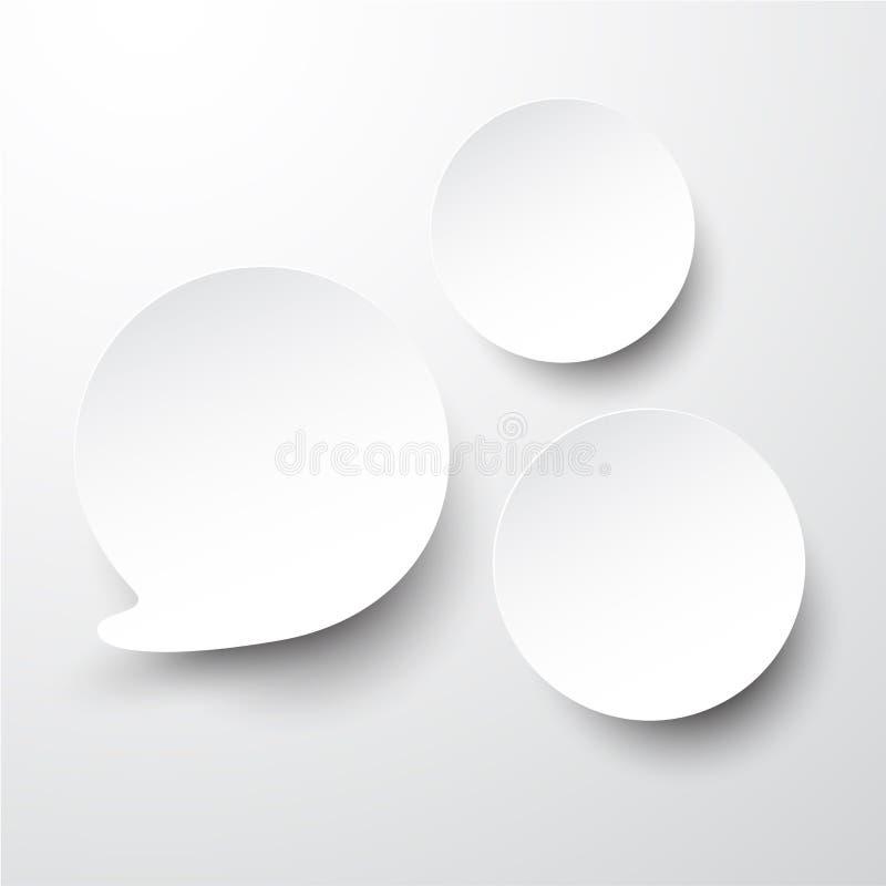 Бумажные белые круглые пузыри речи. иллюстрация штока