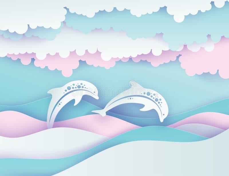 Бумажные волны моря и пары дельфинов Отрезанное бумагой глубокое vec стиля иллюстрация вектора