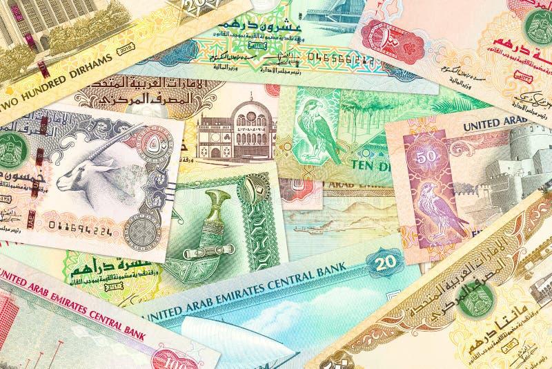 Бумажные деньги дирхама некоторых Объединенных эмиратов стоковые фото