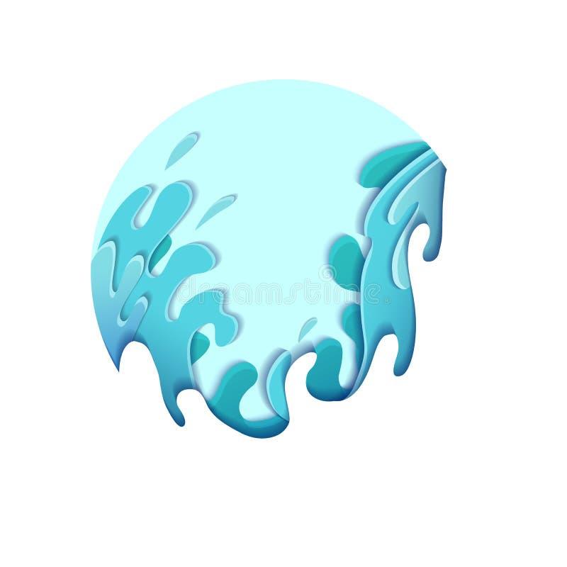 Бумажные жестокие волны моря отрезанные из бумаги разнослоистый чертеж 3d потоков воды Шторм Иллюстрация выплеска вектора иллюстрация вектора