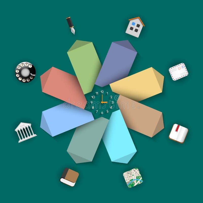Бумажные знамена с различными значками - ультрамодным дизайном для infograph иллюстрация вектора