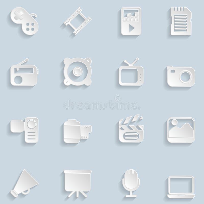 Бумажные значки мультимедиа иллюстрация штока
