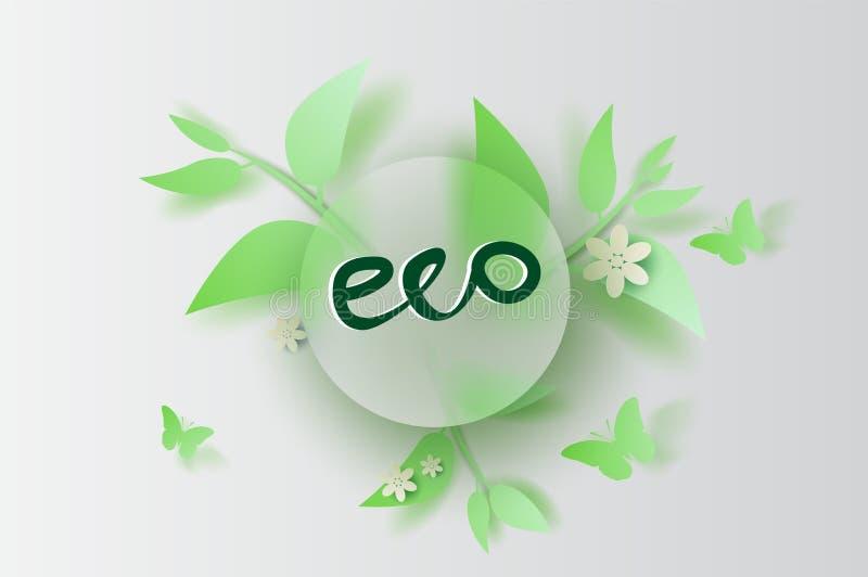 Бумажные искусство и ремесло весны украшения лист и цветка Eco иллюстрации на помещенной предпосылке космоса текста, сезоне весен бесплатная иллюстрация