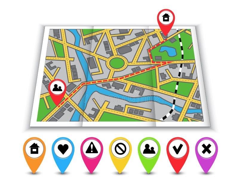 Бумажные карты, значки и расстояние отмеченные в красном цвете иллюстрация вектора