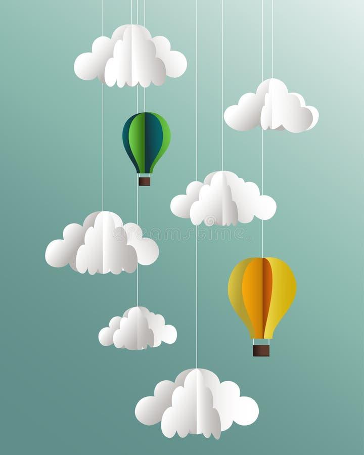 Бумажные облака и воздушные шары на голубой предпосылке бесплатная иллюстрация